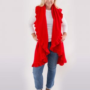 4 Way Shawl Vest With Ruffle Trim-Game Day Colors